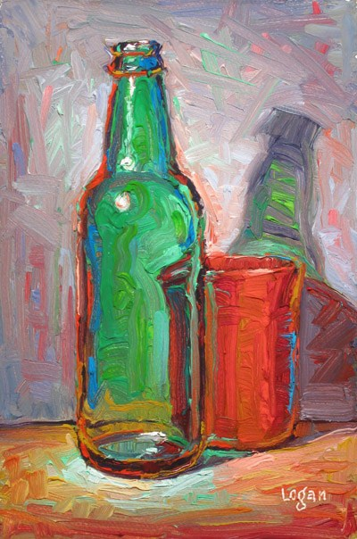 """""""Green Bottle and Red Cup"""" original fine art by Raymond Logan"""