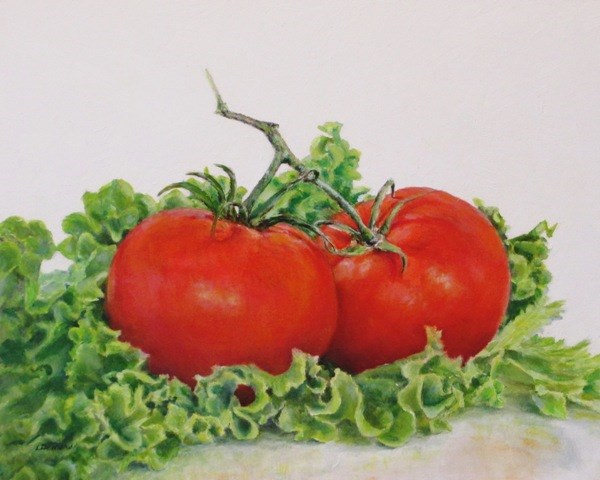 """Tomatoes and Lettuce"" original fine art by Linda Demers"