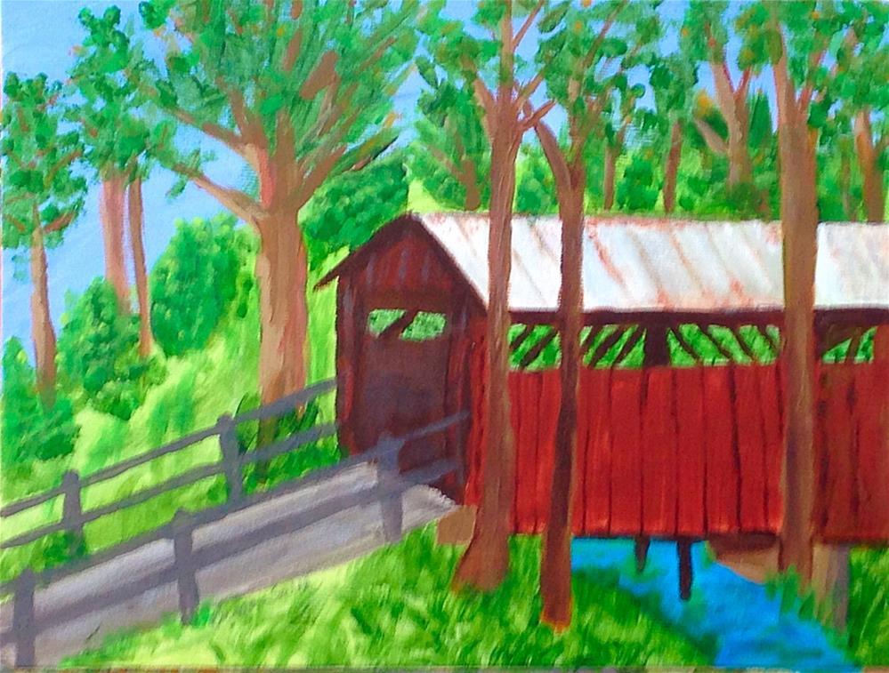 """Covered Bridge Study"" original fine art by Brenda Smith"