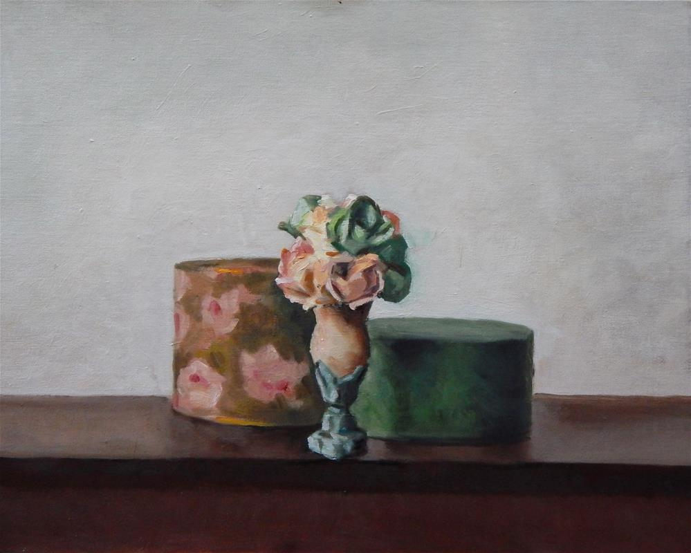 """""""Still Life with Vase and Two Round Boxes"""" original fine art by Megan Schembre"""