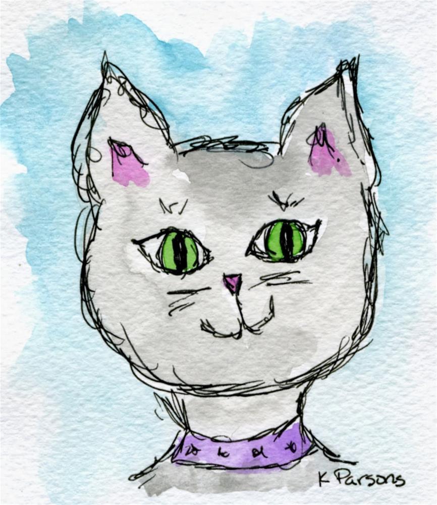 """Kitty Love"" original fine art by Kali Parsons"