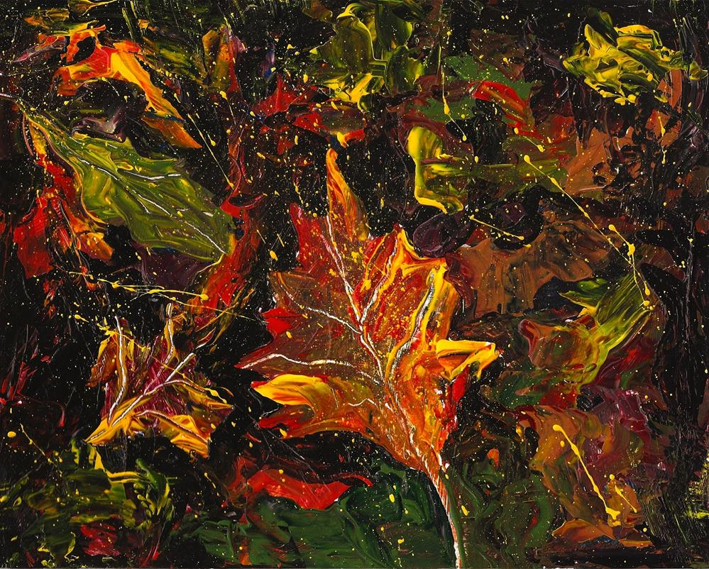 """""""8x10 Abstract Fall Leaves Acrylic Bright Colors Yellow Orange by Penny StewArt"""" original fine art by Penny Lee StewArt"""