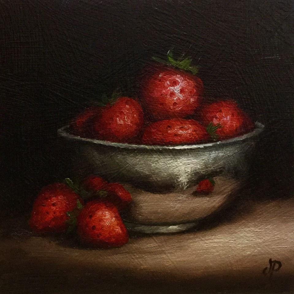 """Silver strawberry bowl"" original fine art by Jane Palmer"