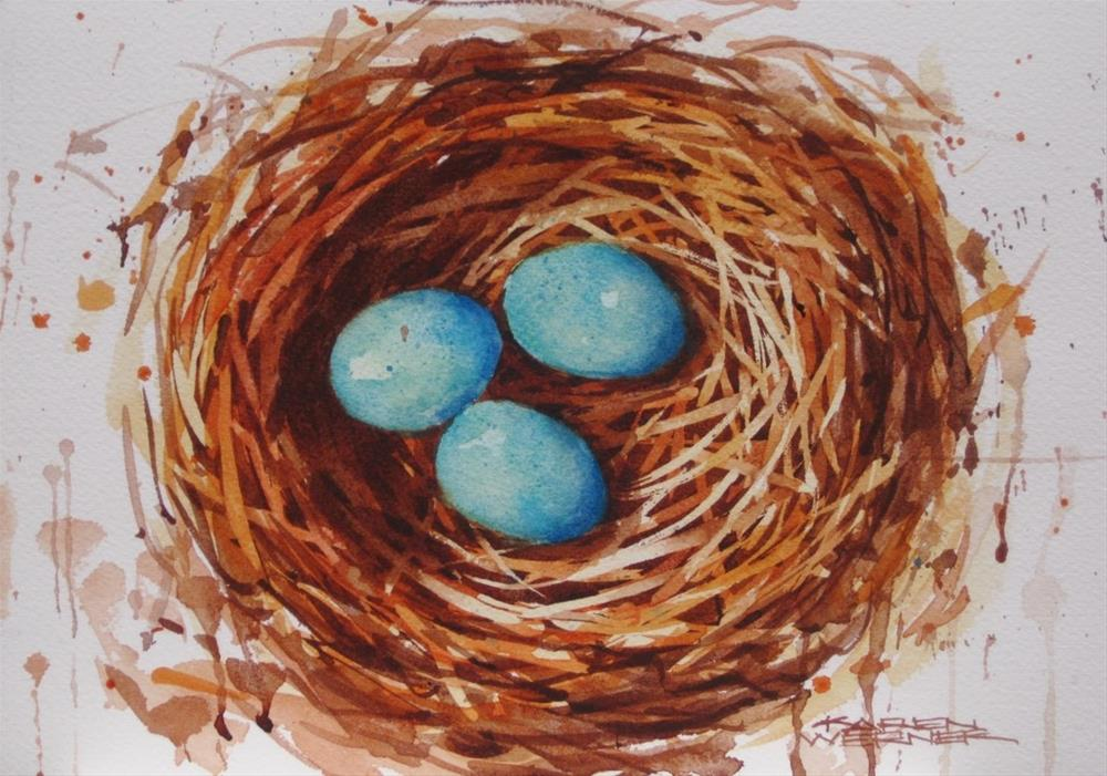 """Three In The Nest"" original fine art by Karen Werner"
