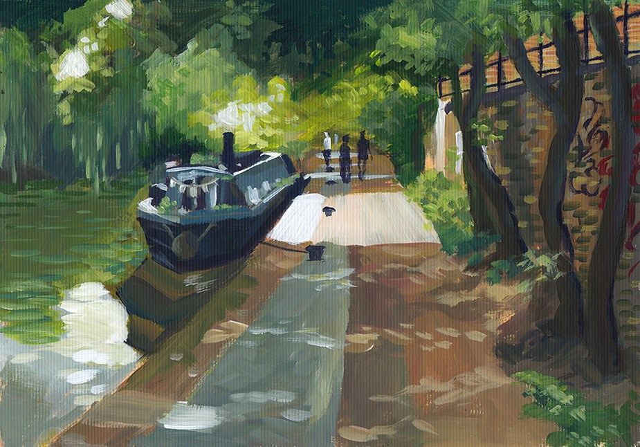"""Regent's Canal, London"" original fine art by J M Needham"