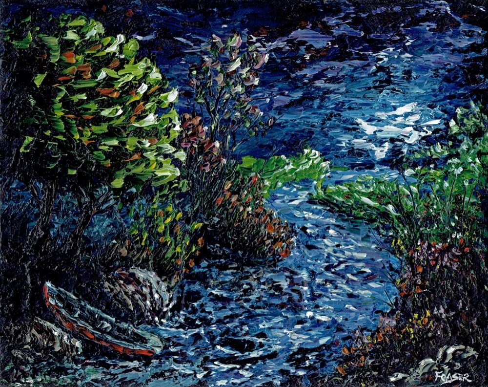 """Moonlight Canue"" original fine art by Ken Fraser"