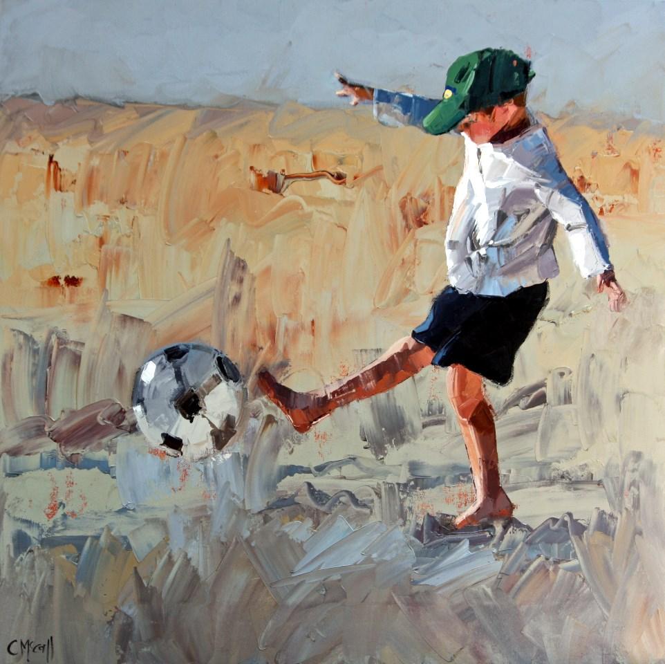 """Beach Soccer"" original fine art by Claire McCall"