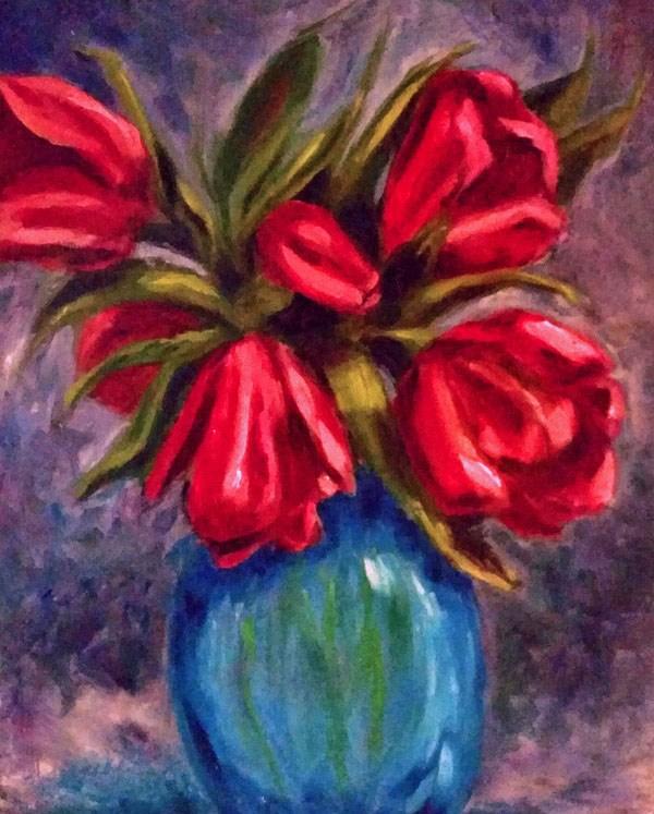 """Tulips"" original fine art by Barbara Janecka"