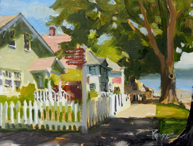"""""""Port Gamble Picket Fence plein air oil painting by Robin Weiss"""" original fine art by Robin Weiss"""