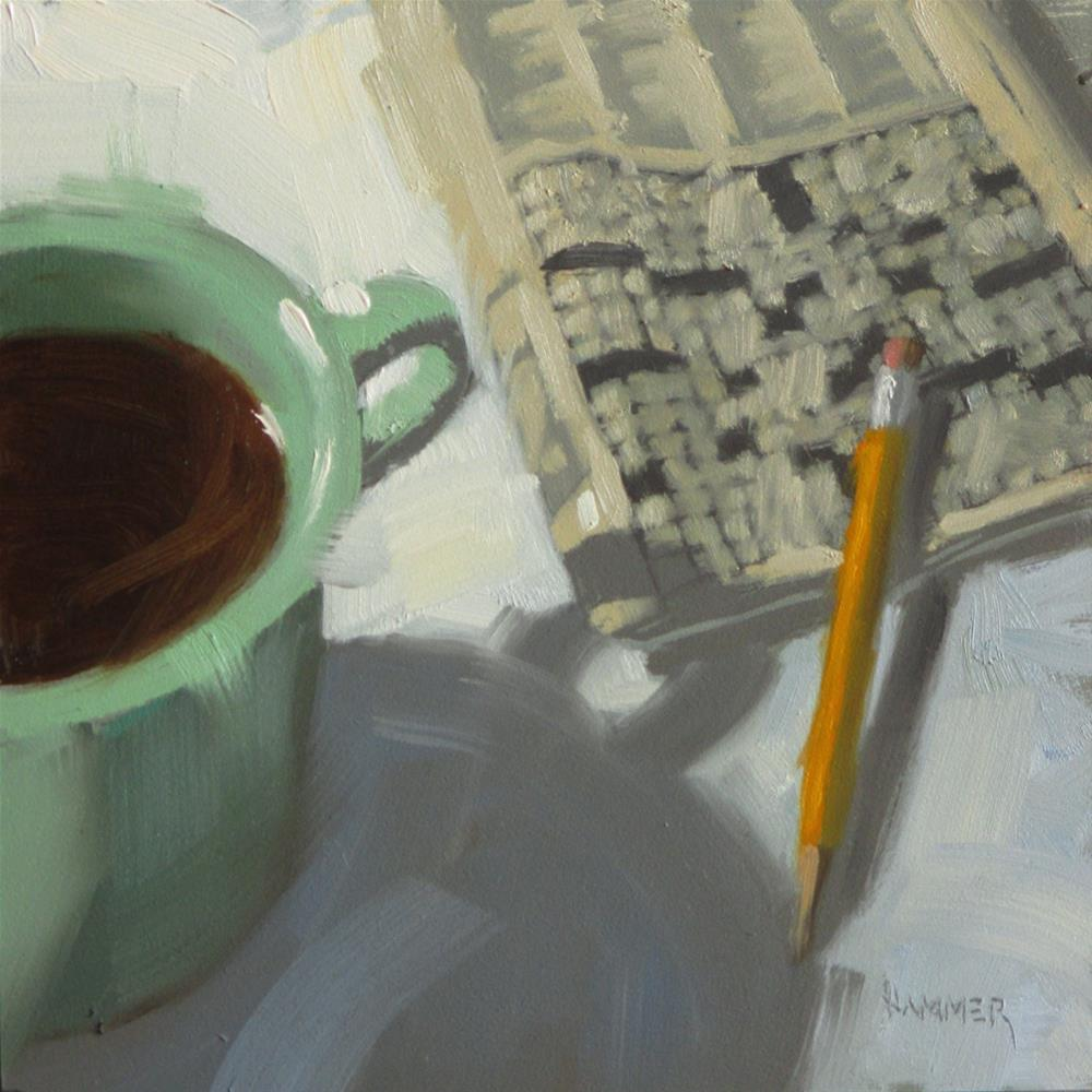 """""""Green Cup with a crossword  6 x 6  oil"""" original fine art by Claudia Hammer"""