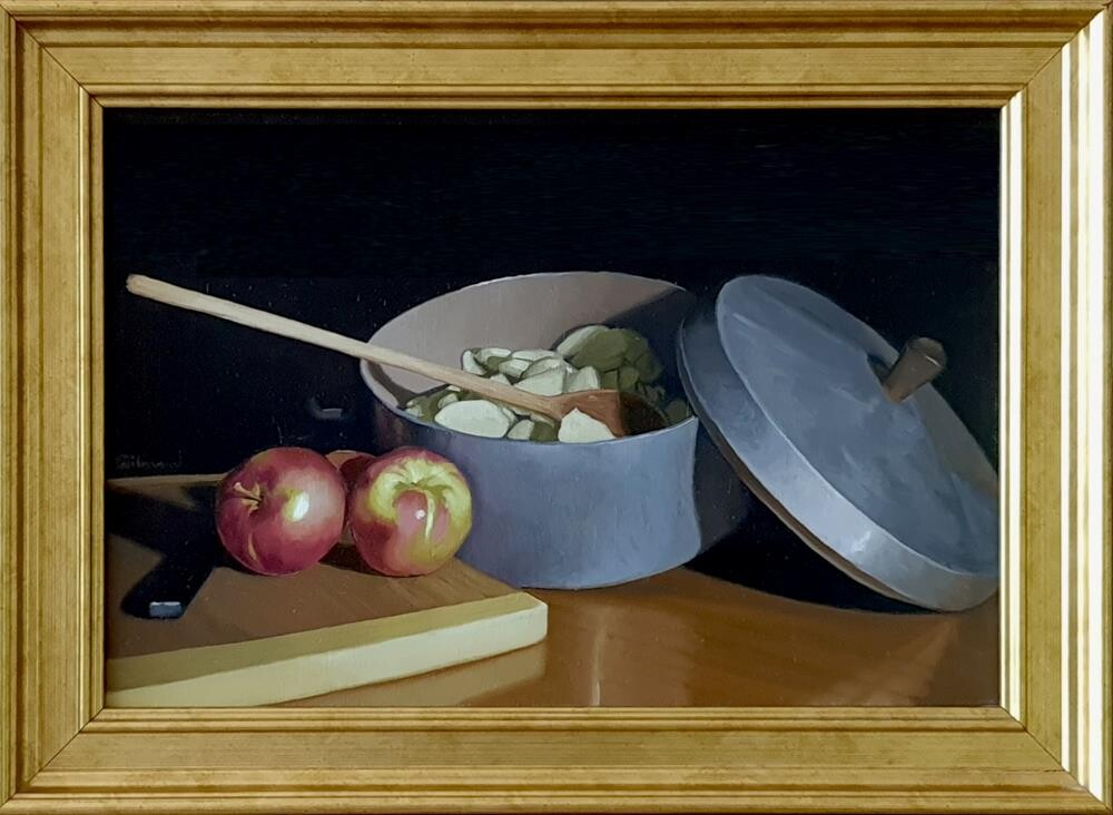 """Making Pie I"" original fine art by M. Gilmour"