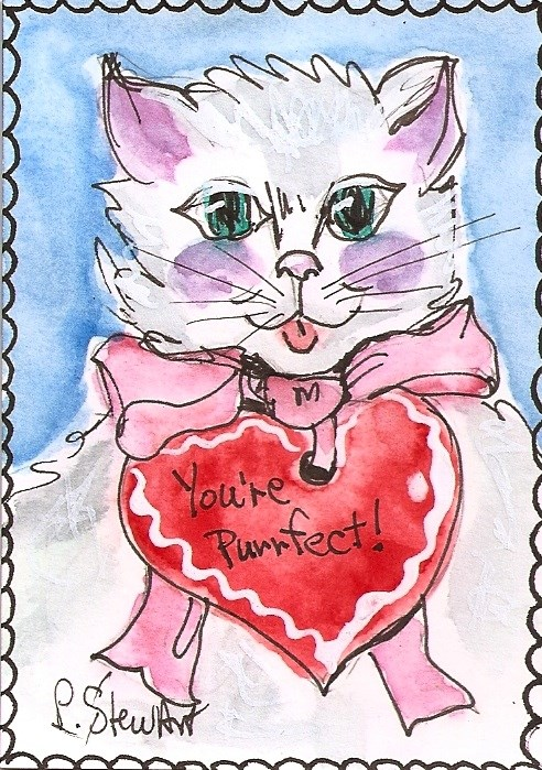 """ACEO Valentine Kitty White Cat Pink Bow Orig Illustration Art by Penny StewArt"" original fine art by Penny Lee StewArt"