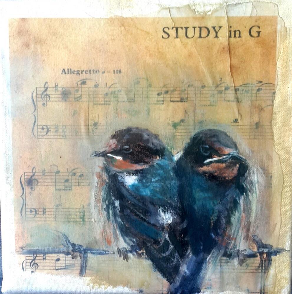 """""""Birdsong 3"""" original fine art by Rentia Coetzee"""