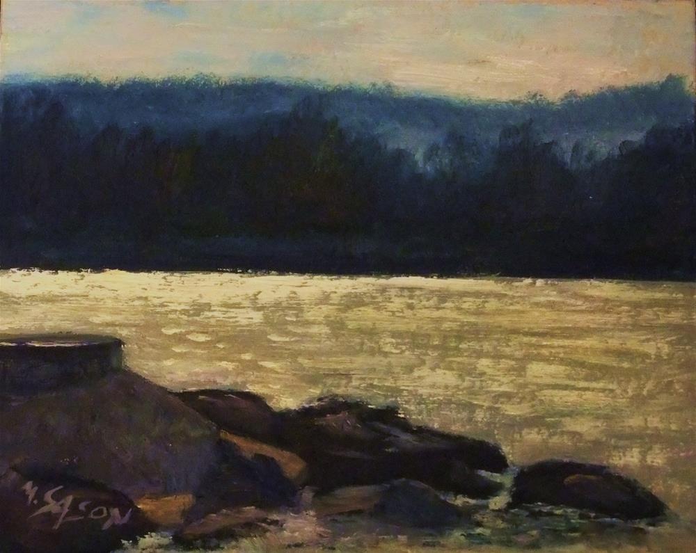 """Ammersee - Lakeside, backlit"" original fine art by Michael Sason"