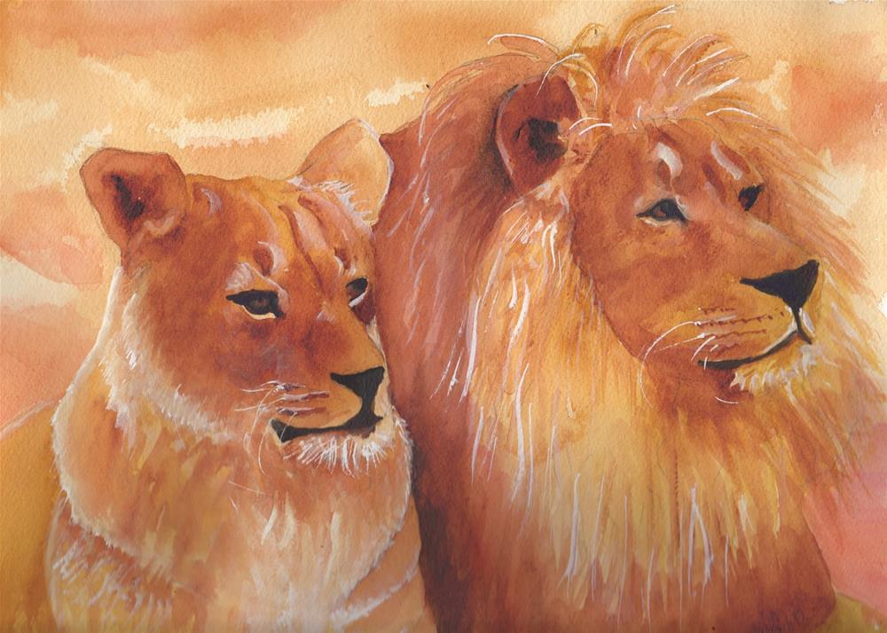 """""""African Lions"""" original fine art by Bunny Griffeth"""