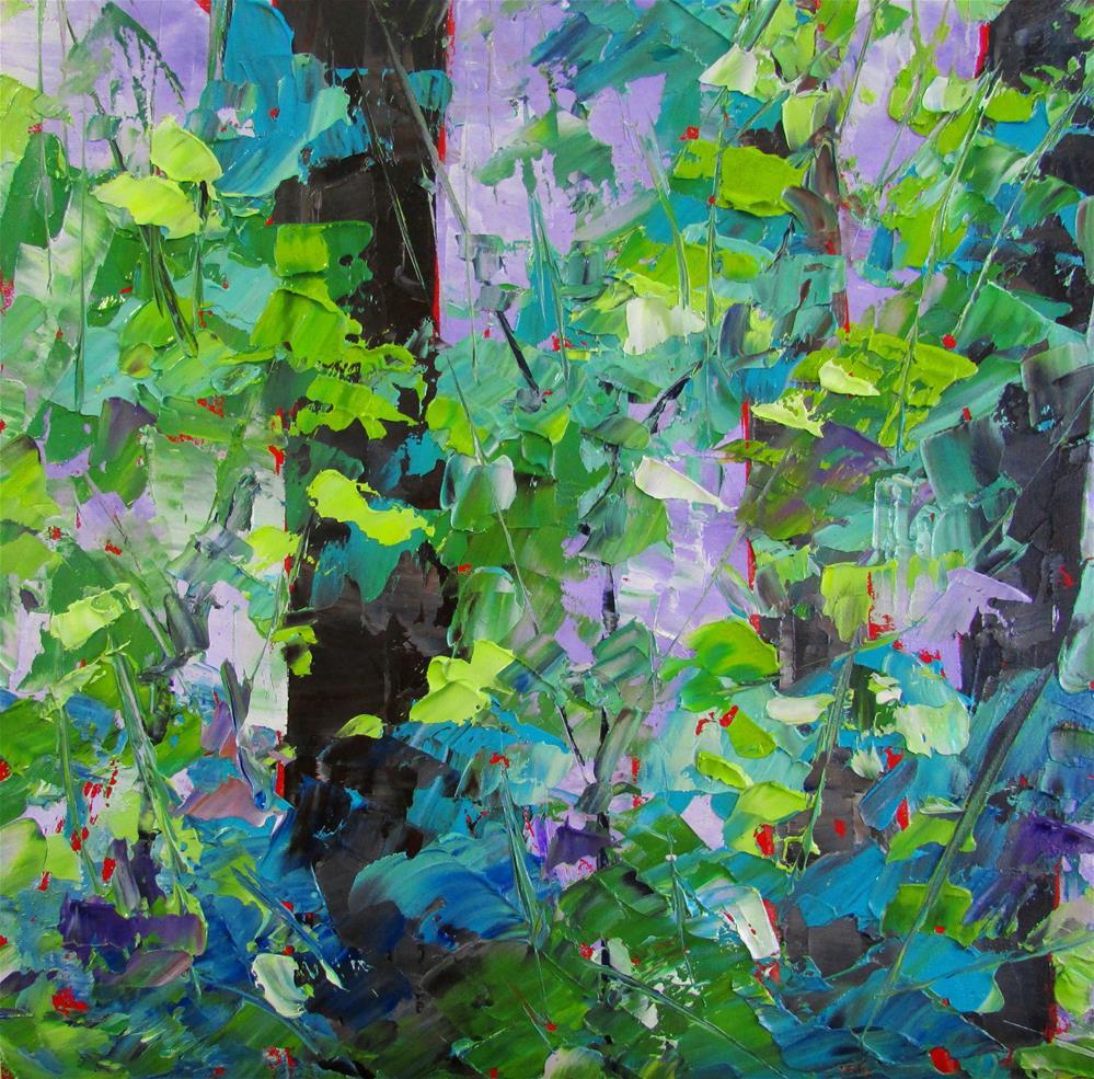 """""""8 x 8 inch oil Little Birches #5"""" original fine art by Linda Yurgensen"""