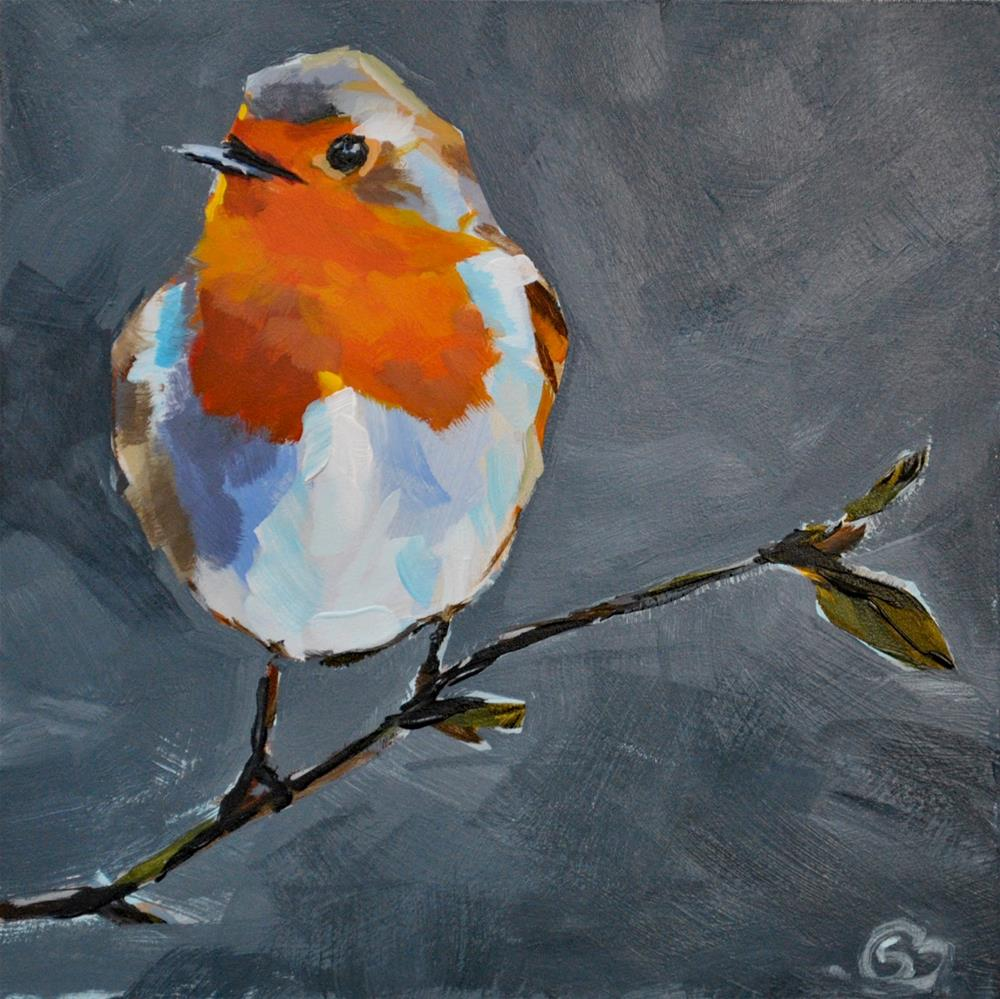 """Plump Little Robin"" original fine art by Shari Buelt"
