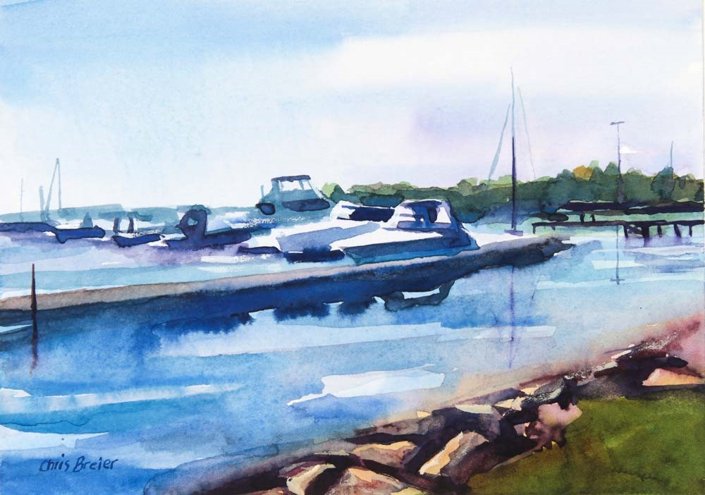 """Late Afternoon Boat Harbor"" original fine art by Chris Breier"