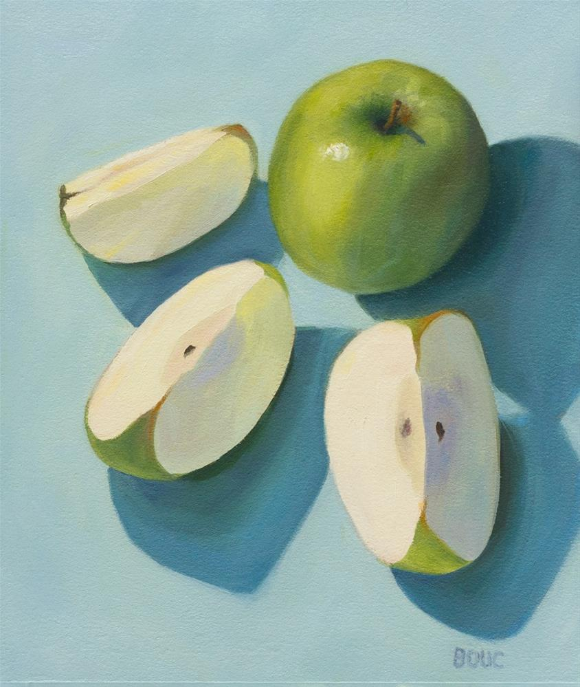 """Sliced Granny Smith Apples"" original fine art by Jana Bouc"
