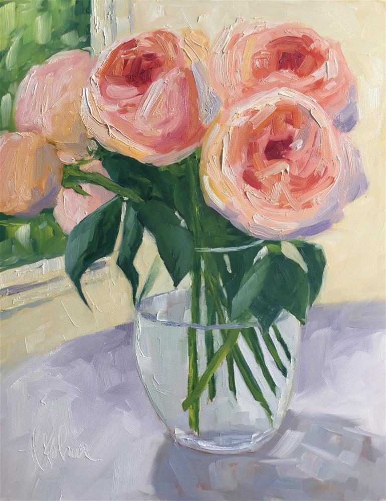 """""""Flowers on Table"""" original fine art by Hallie Kohn"""
