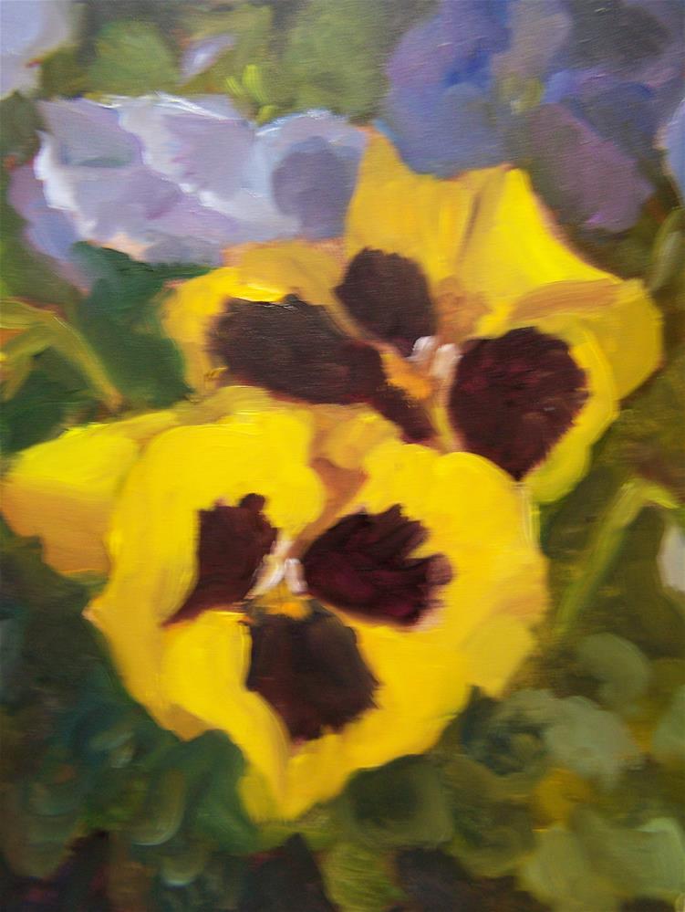 """""""Pansies"""" original fine art by Joan Reive"""