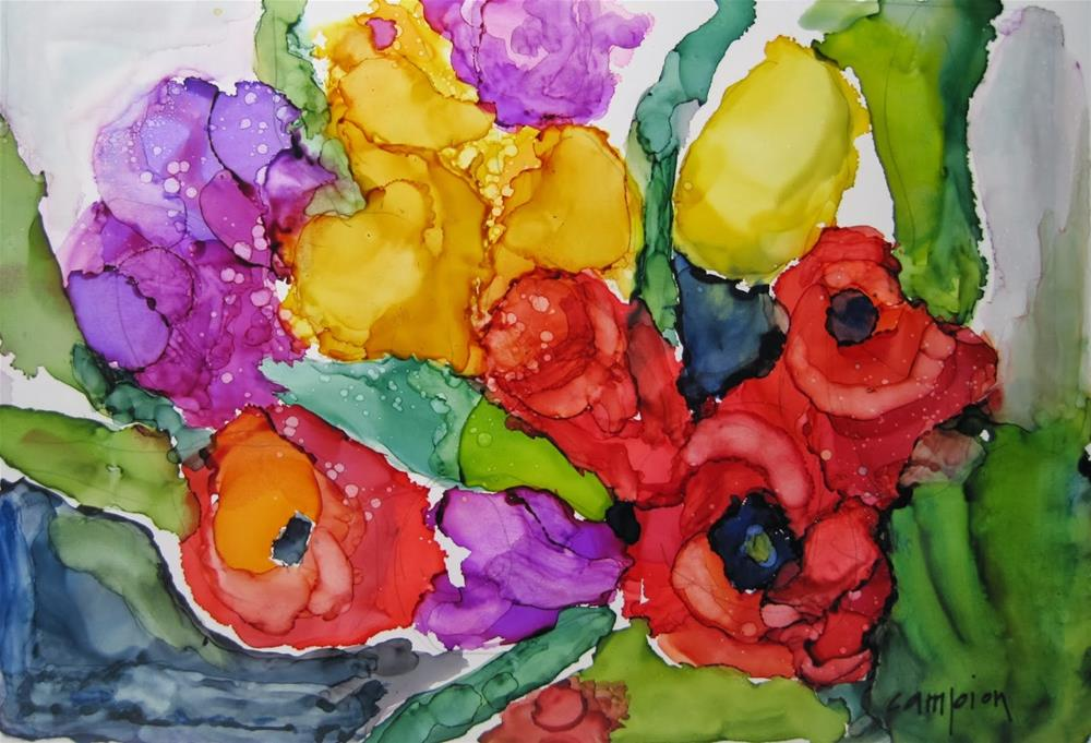 """310.  Mixed Tulips"" original fine art by Diane Campion"