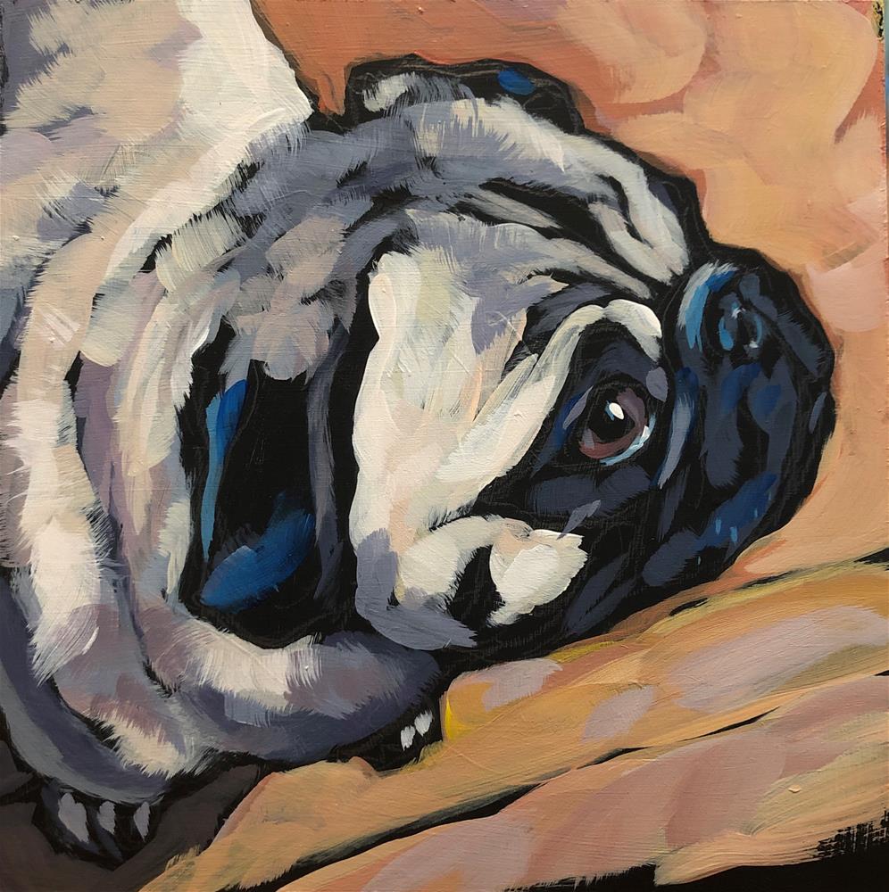 """Pug View #6"" original fine art by Kat Corrigan"