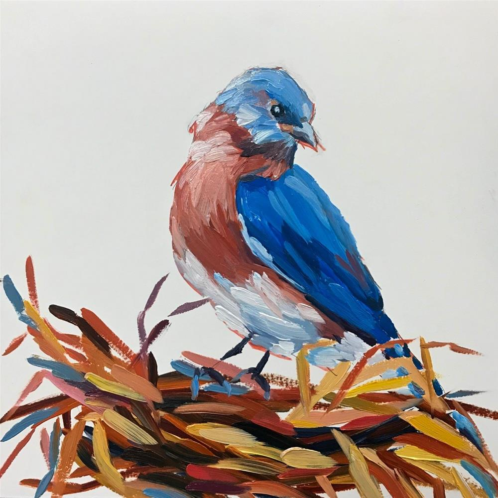 """Bird and Nest"" original fine art by Mary Anne Cary"