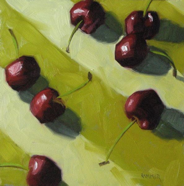 """Hail hail, the gang's all here   6x6 oil"" original fine art by Claudia Hammer"