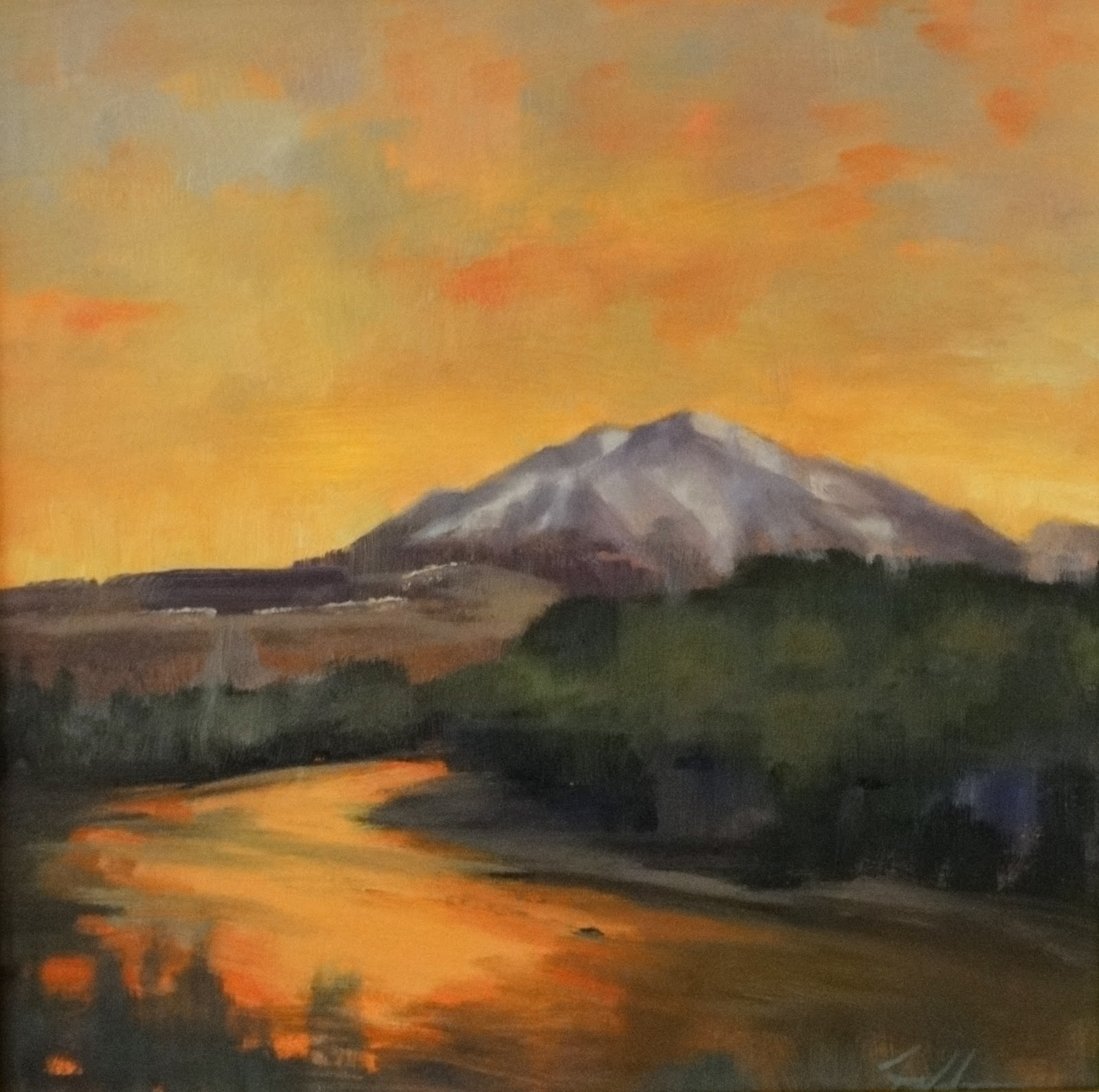 """Sun Over Mt Sopris, 8x8"" original fine art by Ann Feldman"