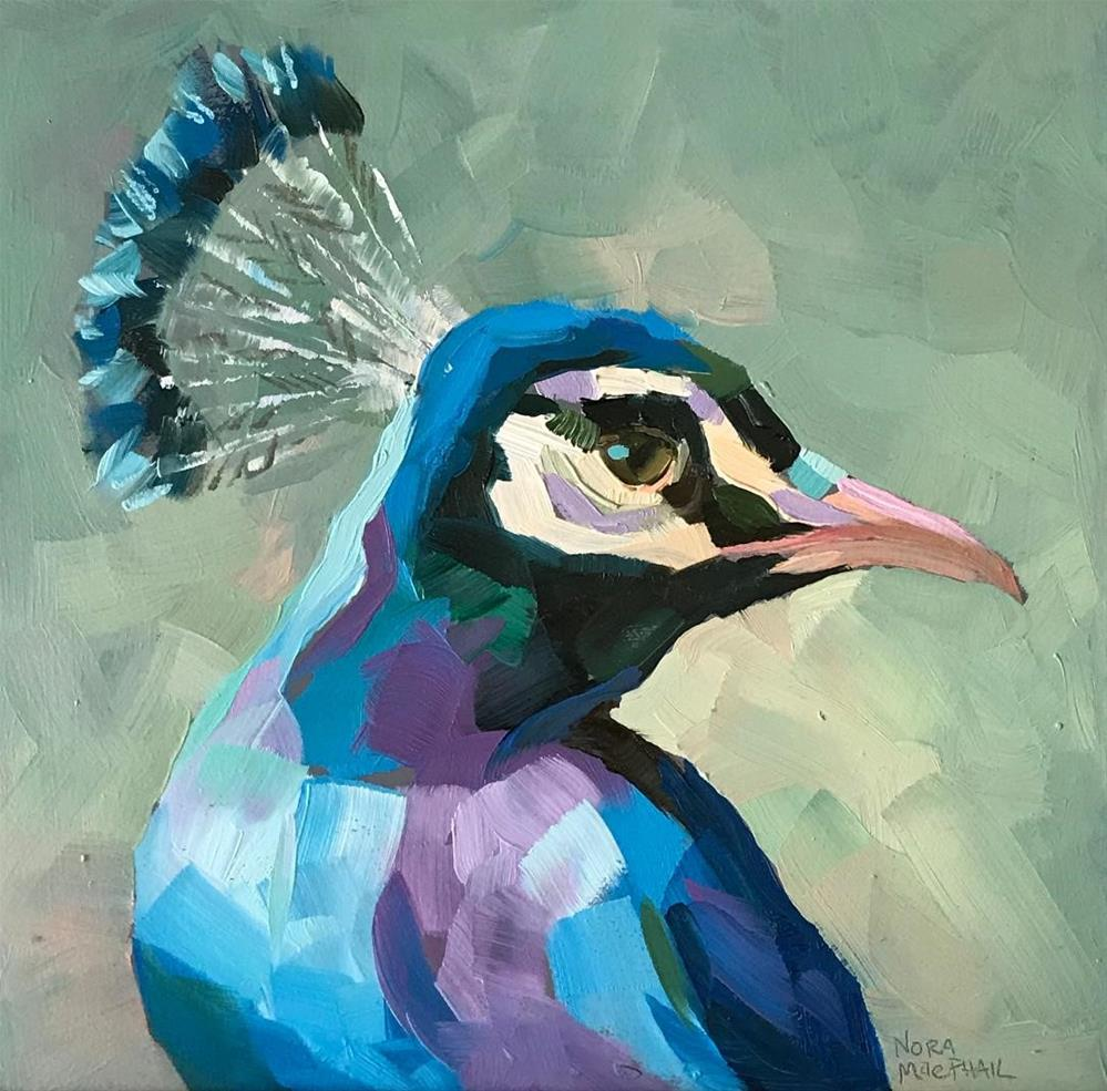 """""""Peacock in Profile"""" original fine art by Nora MacPhail"""