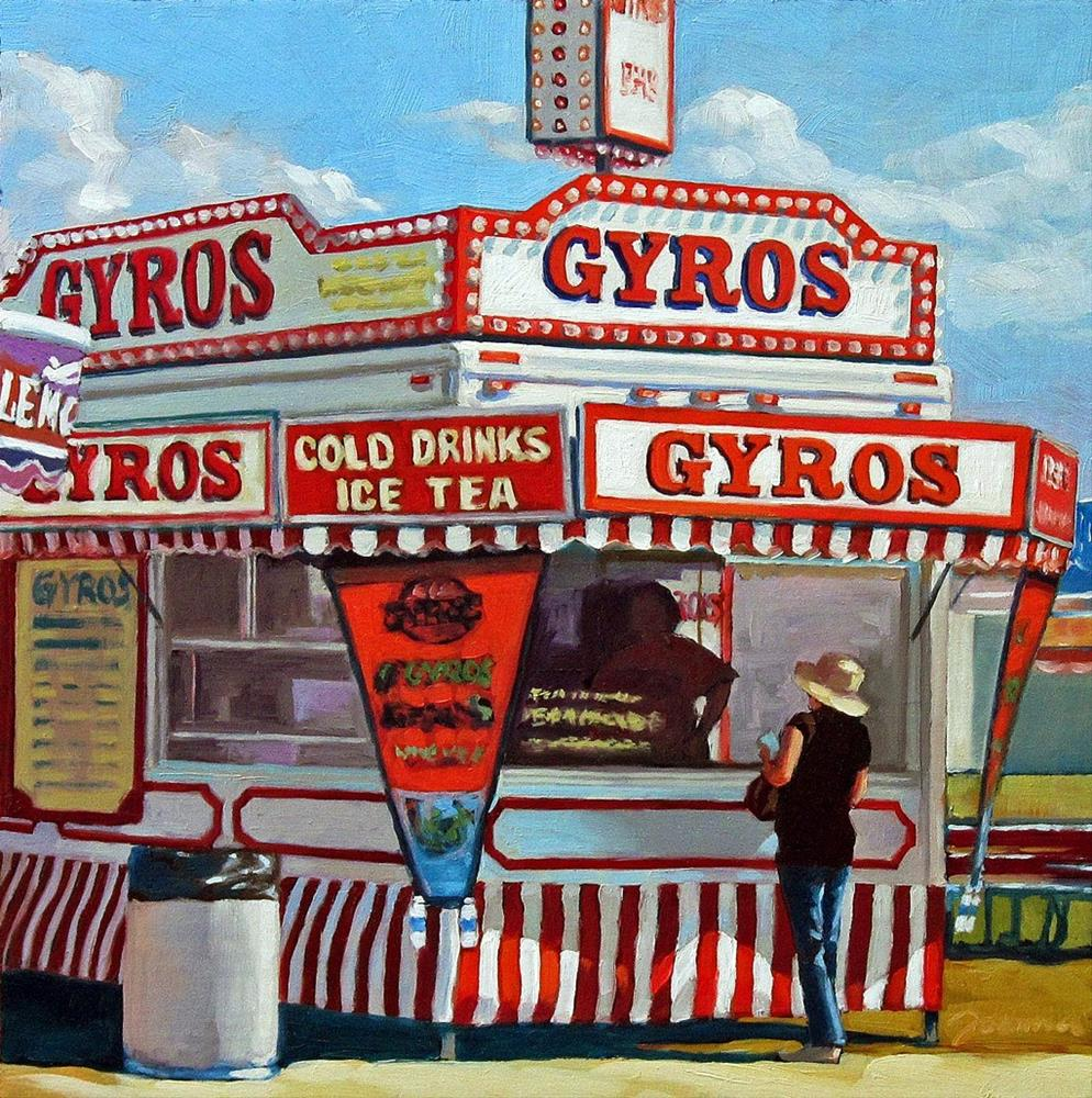 """Lunch At Greek--Series Painting of Fair Food Booth"" original fine art by Joanna Bingham"