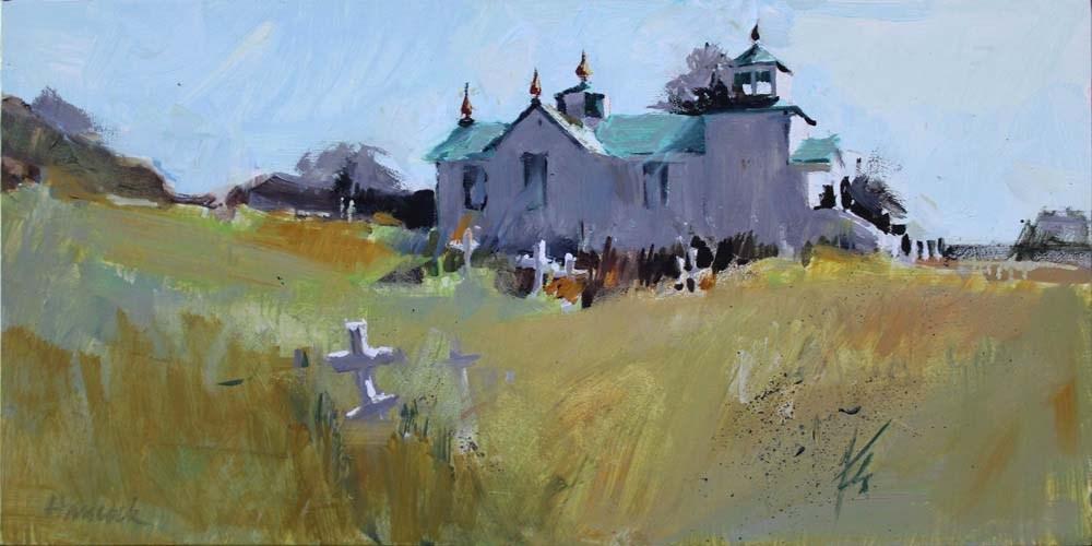 """""""Ninilchick Russian Church"""" original fine art by Gretchen Hancock"""