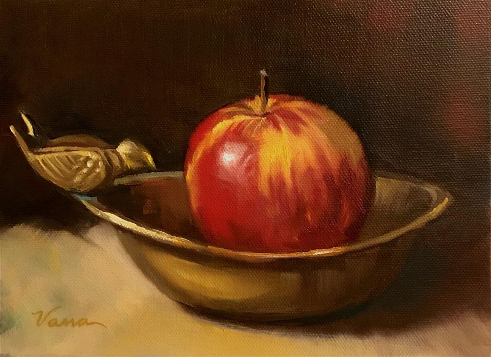 """Apple in Brass Bird Dish"" original fine art by Vana Meyers"