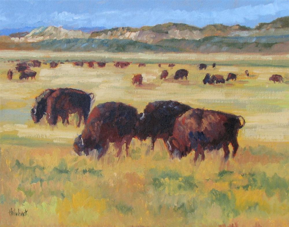 """Bison On The Plains"" original fine art by Pam Holnback"