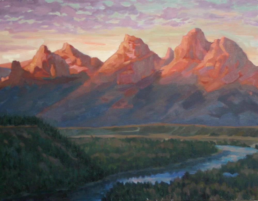 """Teton Sunset"" original fine art by K.R. McCain"
