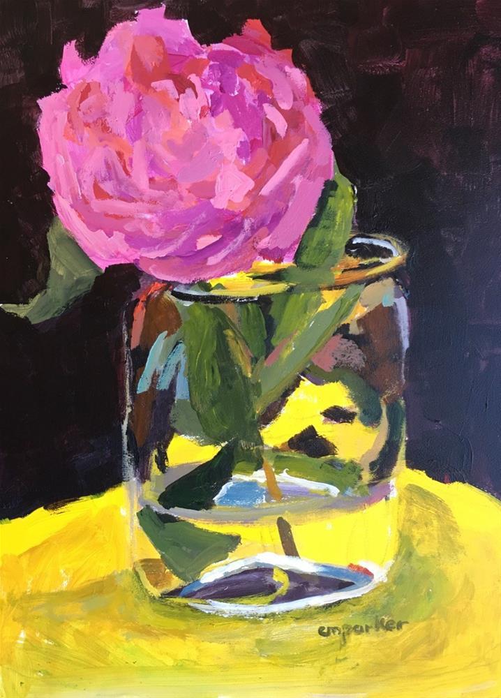"""Pink Peony, 2/20/17"" original fine art by Christine Parker"