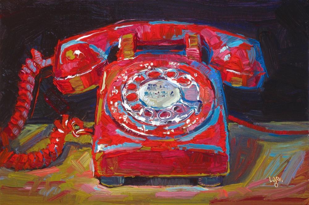 """Rotary Telephone Red"" original fine art by Raymond Logan"