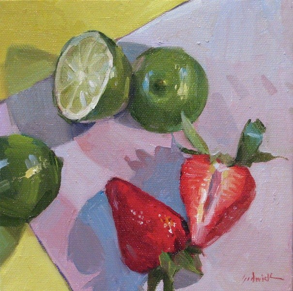 """Red and Green Halves fruit berry lime still life daily painting kitchen wall art"" original fine art by Sarah Sedwick"