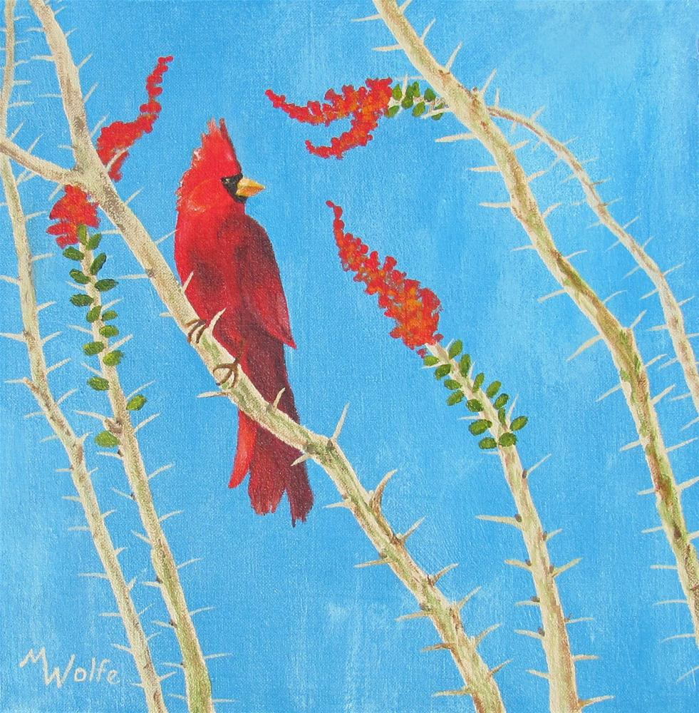 """Cardinal on Ocotillo"" original fine art by Michelle Wolfe"