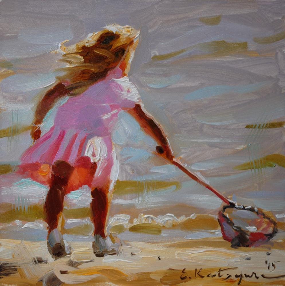 """Seashell Hunt"" original fine art by Elena Katsyura"