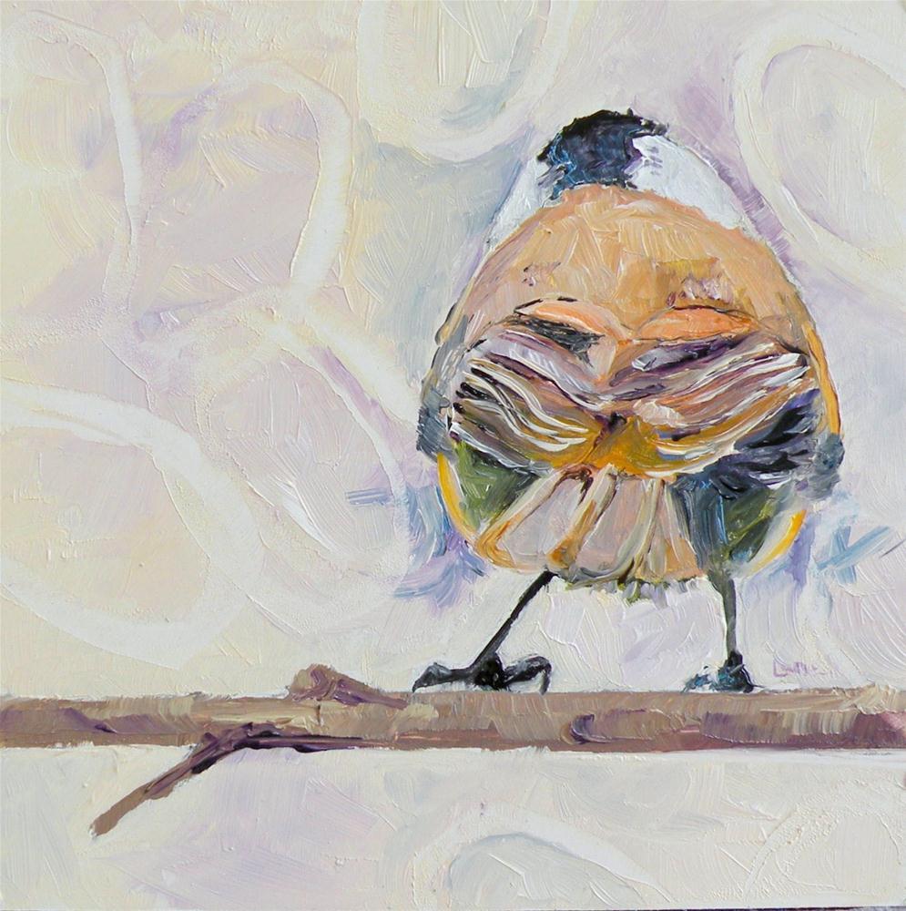 """BIRDY'S GOT BACK ORIGINAL OIL MINI ON PANEL FOR ETSY © SAUNDRA LANE GALLOWAY"" original fine art by Saundra Lane Galloway"