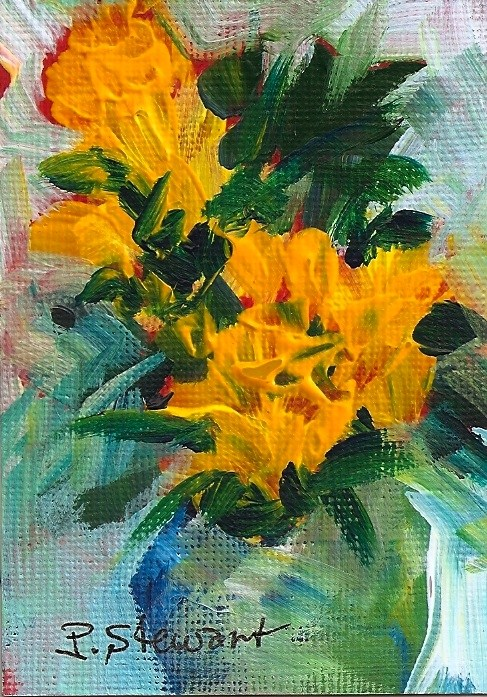 """""""Bright Yellow Flowers in a Vase, Acrylic ACEO original signed by artist"""" original fine art by Penny Lee StewArt"""