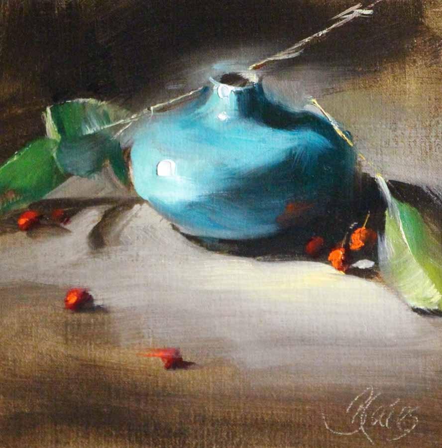 """""""Blue Vase and Berries"""" original fine art by Pamela Blaies"""