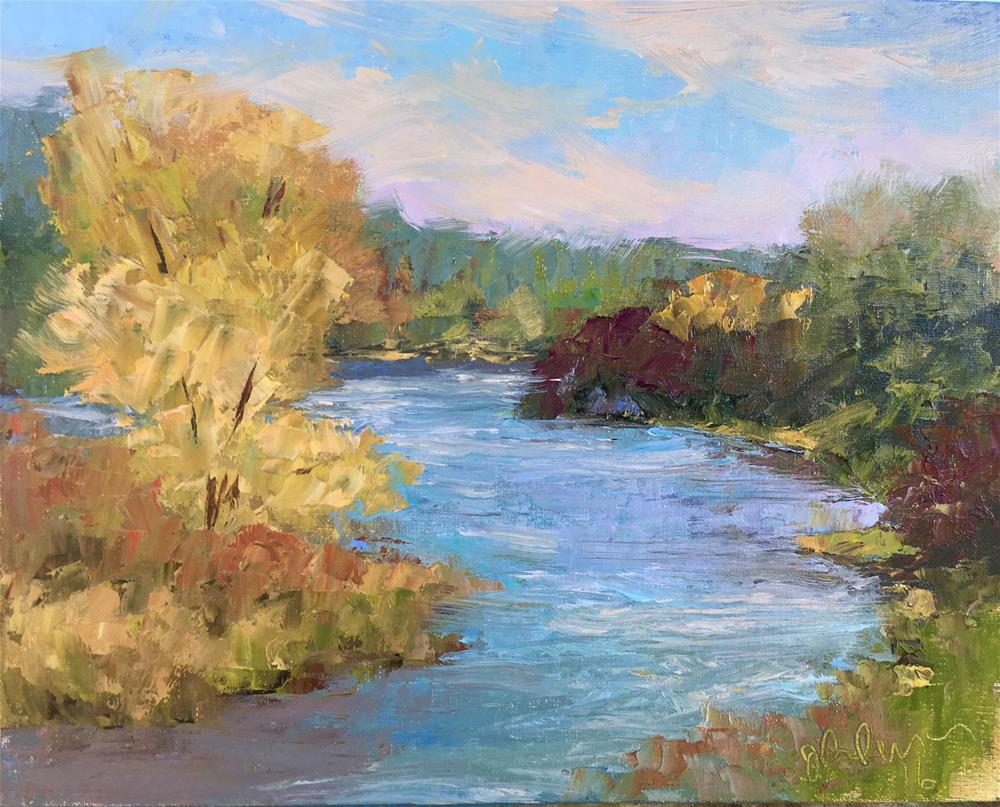 """""""The pond at Ames Crossing"""" original fine art by Judith Anderson"""