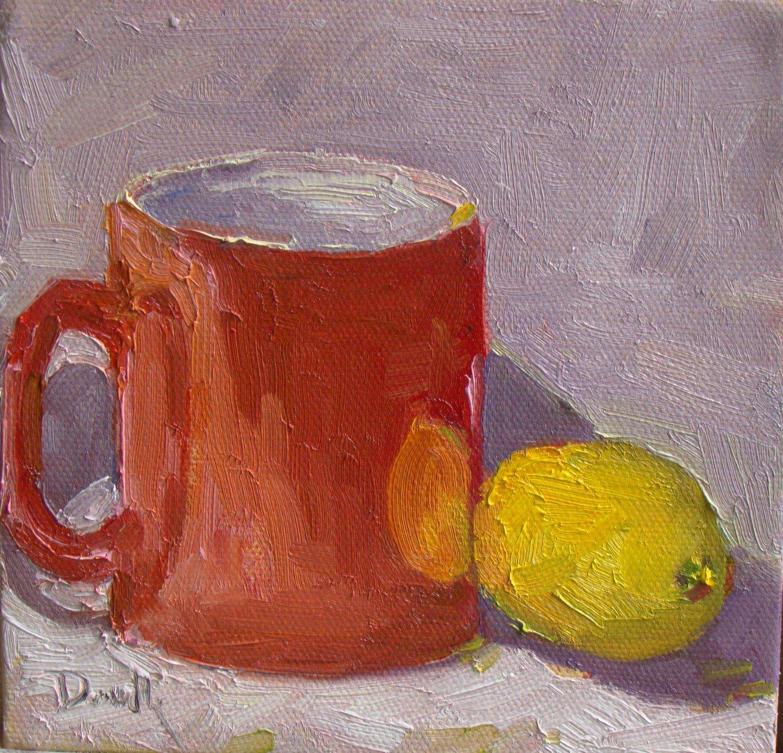 """""""My Red Tea Mug"""" original fine art by Debbie Dowdle"""