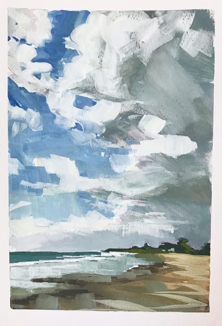 """Clouds - 5x7"" original fine art by Sharon Schock"
