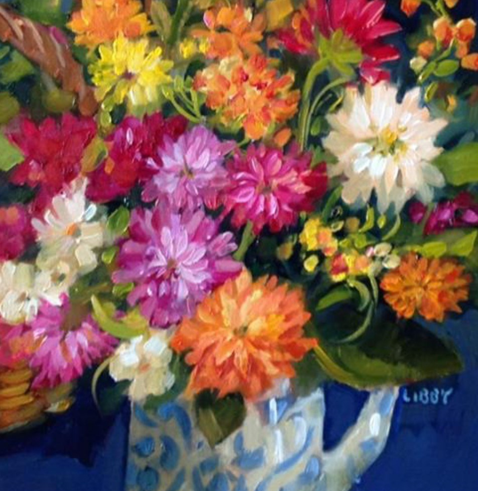 """Dahlia Days"" original fine art by Libby Anderson"