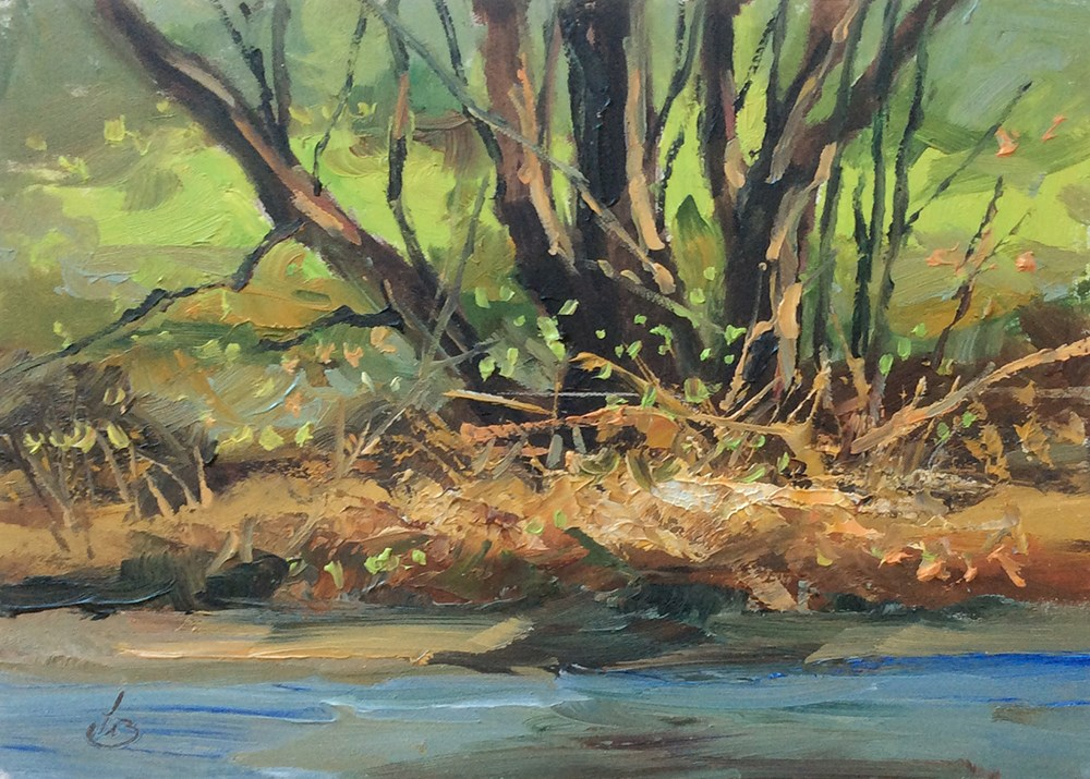 """""""EDGE OF THE WATER"""" original fine art by Tom Brown"""