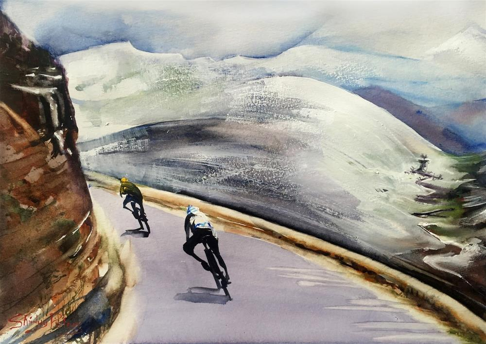 """""""Le Tour in Snow Alps"""" original fine art by Shirley Peters"""